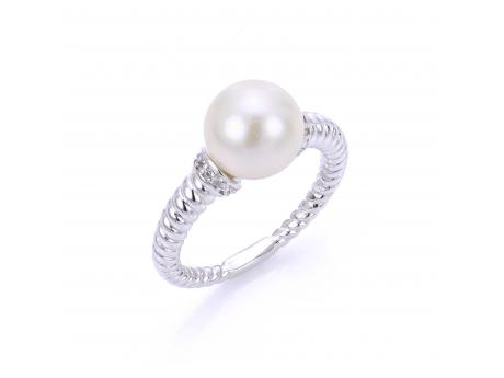 Sterling Silver Freshwater Pearl Ring - 925 9.5-10MM FW CULT PEARL WHITE TOPAZ TWISTED BAND RING