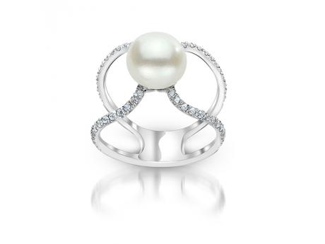 Sterling Silver Freshwater Pearl Ring - (925 9-10MM FWP WHITE TOPAZ RING)