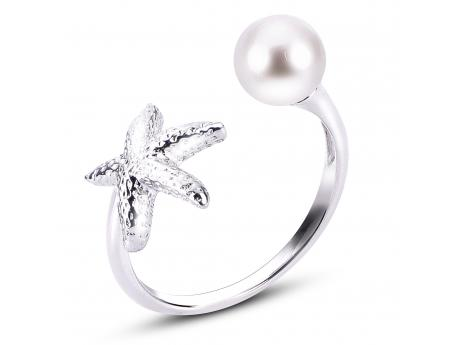 Sterling Silver Freshwater Pearl Ring - 925 6.5-7MM ROUND FWP STARFISH RING