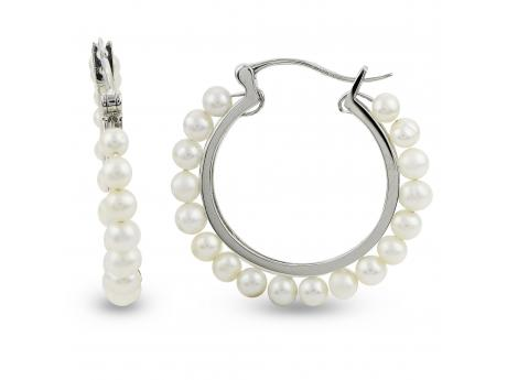 Sterling Silver Freshwater Pearl Earrings - 925 WHITE FWP HOOP EARRINGS