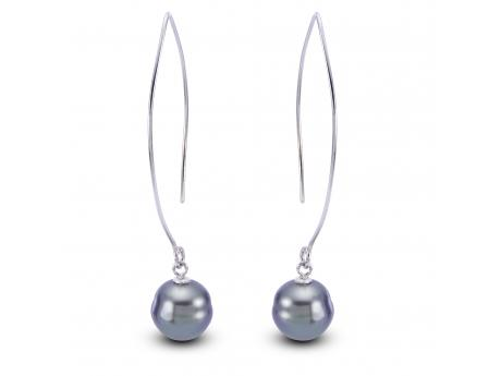 Sterling Silver Tahitian Pearl Earrings - This earring is made of Sterling Silver and features two beautiful 10-11mm Tahitian cultured pearl.