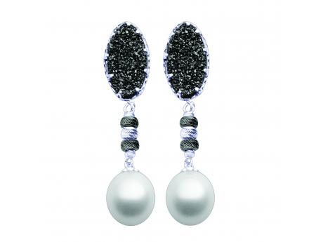 Sterling Silver Freshwater Pearl Earrings - It is no surprise that this is one of our hottest designs right now… These earrings feature two incredibly large high quality 11mm freshwater cultured pearls accented by our brand new black rhodium brilliance beads and they are finished with two 9x18mm shimmering druzy! Infuse some big bold exciting new looks into your cultured pearl case to energize your assortment. We are confident that these will be some of the hottest looks of the year!