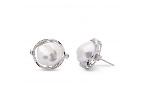 Sterling Silver Freshwater Pearl Earrings - Sterling silver earrings with 12x12mm freshwater keshi cultured pearls and genuine diamonds!