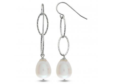 Sterling Silver Freshwater Pearl Earrings - Sterling silver station earrings featuring two oval shaped high luster 9mm cultured pearls.