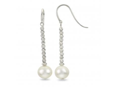 Sterling Silver Freshwater Pearl Earrings - Brilliance Collection drop earrings, sterling silver diamond cut beads shimmering like diamonds featuring 8-8.5mm freshwater cultured pearls.