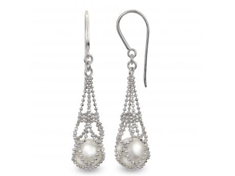 Sterling Silver Freshwater Pearl Earrings - When our master jeweler brought these earrings into our design meeting there was not a single person in the room who was not wide eyed and jaw to the floor… We see endless cultured pearl jewelry designs and there are a select few that take even our breath away… This is one of those special unique designs. At JCK Las Vegas these earrings shined above all else and continue to do so. Both our jewelers and their customer's love these so don't think twice and add them to your order.