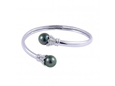 Sterling Silver Tahitian Pearl Bracelet - 925 10-11MM TAHITIAN & WHITE TOPAZ BANGLE