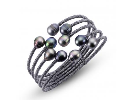 Stainless Steel Tahitian Pearl Bracelet - TAHIITIAN cultured pearl FIVE ROW CUFF BRACELET. JUST THE RIGHT TOUCH OF BOLDNESS BALANCED WITH A TOUCH OF SOFISTICATION TO OFFER YOU A GREAT LOOK WHETHER DRESSED UP OR DRESSED DOWN.