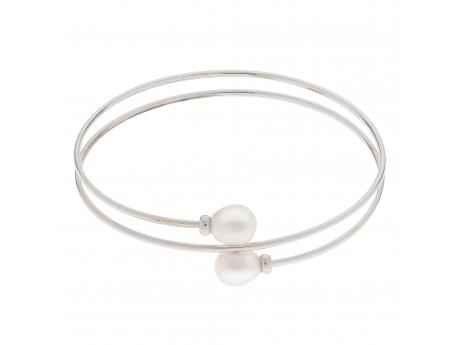 Sterling Silver Freshwater Pearl Bracelet - 925 7-8MM RICE FWCP DOUBLE WRAP BANGLE