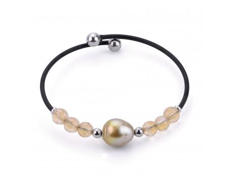 Sterling Silver Golden South Sea Pearl Bracelet - 925 GOLDEN SOUTH SEA PEARL & CITRINE BLK RUBBER BRACELET