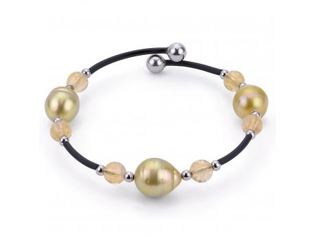 Sterling Silver Golden South Sea Pearl Bracelet - 925 GOLDEN SS PRL & CITRINE BLACK RUBBER CUFF BRACELET