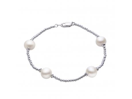 Sterling Silver Freshwater Pearl Bracelet - A modern take on a classic tin cup bracelet! This modern classic is made with sterling silver diamond cut shimmer beads and features four 8-8.5mm freshwater cultured pearls!