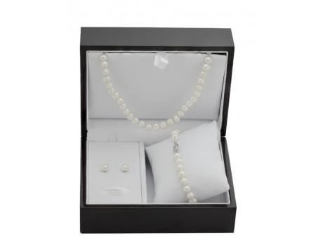 Sterling Silver Freshwater Pearl Set - Meet our number one best selling set!!! That's right this classic freshwater cultured pearl set nicely finished in a rich wooden box is our top must have item. Not only is this the essential classic cultured pearl set for a woman to purchase for her self but at this price it is also the perfect set for her to buy as a gift for her daughter, grand daughter or any young lady in her family for that matter. Now imagine a man walking into your store… he has no idea what to buy as a gift for his wife or girlfriend, he sees this beautiful cultured pearl set already finished with in the beautiful keep sake box! SOLD The market for this set reaches every demographic making this our top recommendation for 2013. Make sure that you have plenty of stock because you will be seeing a huge return on this investment!