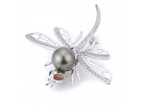 Sterling Silver Tahitian Pearl Pin - 925 10-11MM TAHITIAN & WHITE TOPAZ & GARNET DRAGONFLY BROOCH