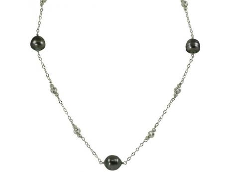 Sterling Silver Tahitian Pearl Necklace - 18