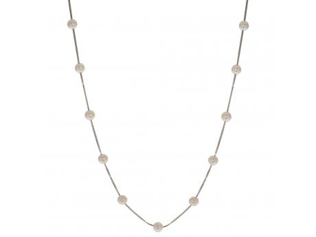 "This beautiful 17"" necklace made of sterling silver features gorgeous 5.5-6mm freshwater cultured pearls."