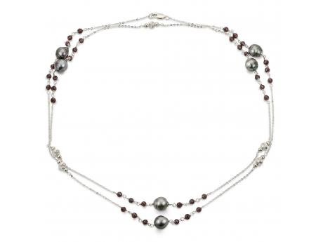 Sterling Silver Tahitian Pearl Necklace - 38
