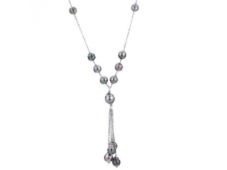 Sterling Silver Tahitian Pearl Necklace - 28