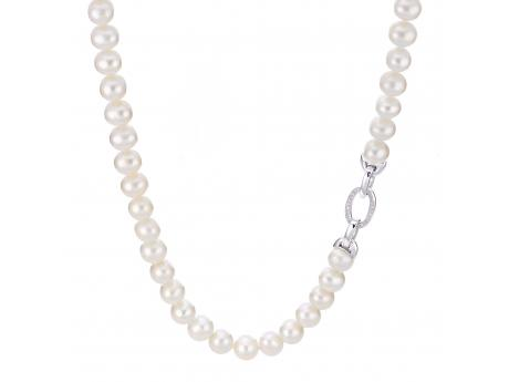 "18"" 925  8-8.5MM FWC PEARL ""LINKS"" NECK WITH TOPAZ CLASP"