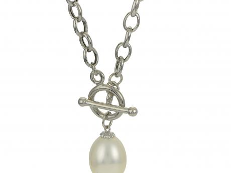 Sterling Silver Freshwater Pearl Necklace - 925 11-12MM FW CULT PEARL OVAL ROLO CHAIN TOGGLE NECKLACE