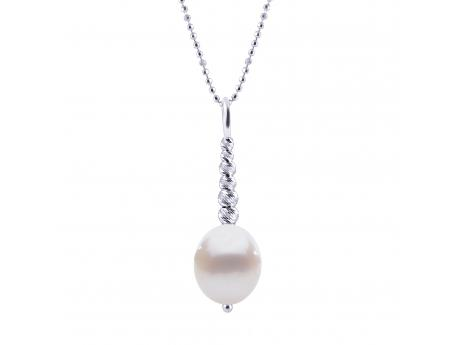 "18"" 925 9-10MM FWP & RH BRILLIANCE BEAD PENDANT"
