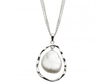 Sterling Silver Freshwater Pearl Pendant - 17-18 MM  BAROQUE cultured pearl AND FASHIONED STERLING SILVER PENDANT SET ON AN 18