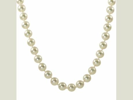 "14K 18"" 8-8.5mm ""Imperial"" AA quality akoya cultured pearl necklace.  Extra Fine - Deep lustrous nacre coating, very well matched color and clean surface."