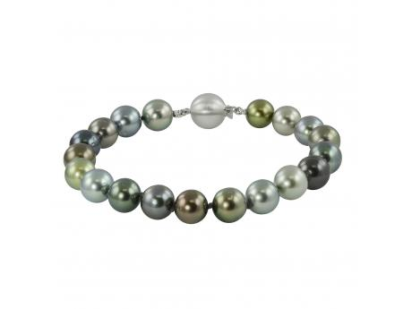 14K White Gold Tahitian Pearl Bracelet - 18 Inch 8-10mm Multi-Color Tahitian cultured pearl Strand Necklace With 14k Gold Ball Clasp!This exotic 7.5