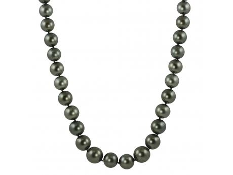 14K White Gold Tahitian Pearl Necklace - This is 18 inches of exotic Tahitian cultured pearls ranging in size from 9-11mm. This strand is a part of our better quality level, which is equivalent to others AAA grade. Our better quality cultured pearl strands are exquisite from their intense luster to their symmetrical round shape. The cultured pearls exhibit very few surface blemishes. Each cultured pearl in this strand has been hand selected to match for a perfectly unified look. Finish the strand to suit your personal taste by selecting from the solid 14k gold clasps below.