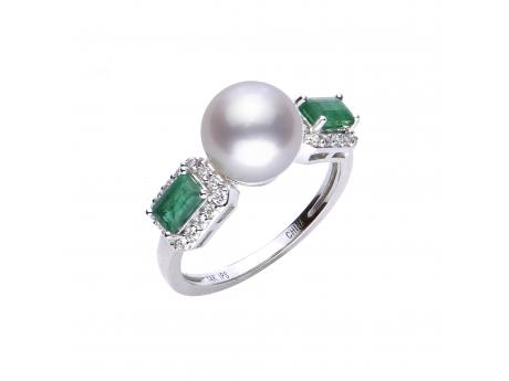 14K White Gold Akoya Pearl Ring - 14KW EMERALD, DIAMOND &  AKOYA RING