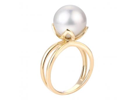 14K Yellow Gold Freshwater Pearl Ring - 14KY 11-12MM WHITE WINDSOR RING