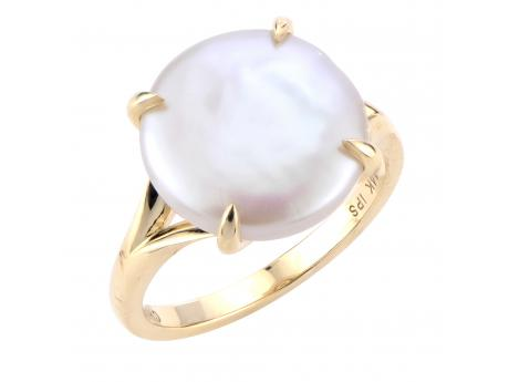 14K Yellow Gold Freshwater Pearl Ring - 14KY 11-12MM FWCP COIN RING