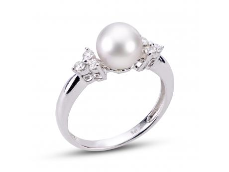 14K White Gold Akoya Pearl Ring by Imperial Pearls