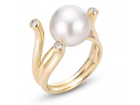 Imperial White South Sea Pearl Ring - 14K 11-12MM WHITE SOUTH SEA PRL & DIAMOND RING