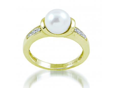 14K Yellow Gold Freshwater Pearl Ring - 14KY FWP & DIA RING