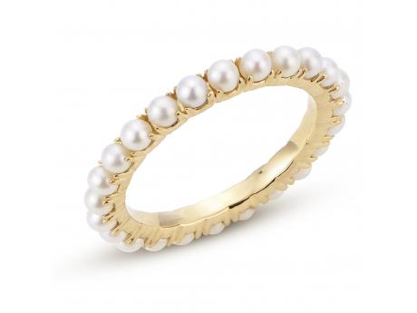 14K Yellow Gold Freshwater Pearl Ring - 14KT ETERNITY FWCP SEED BAND RING