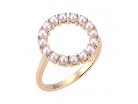 14K Yellow Gold Freshwater Pearl Ring - 14KT OPEN ETERNITY FWCP SEED BAND RING