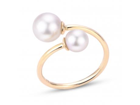 14K Yellow Gold Akoya Pearl Ring - 14K 6 & 8MM AKOYA BYPASS RING