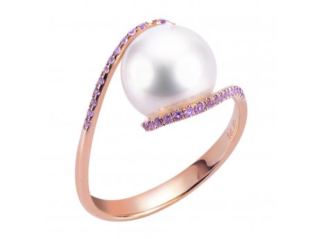 14K Rose Gold Freshwater Pearl Ring - 14KR 9-.5-10MM FWP & AMETHYST TWIST RING