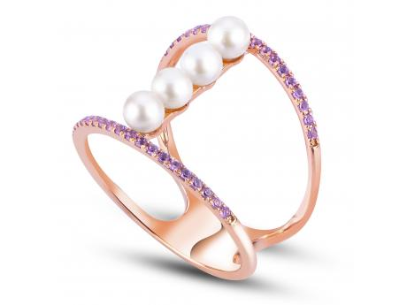 14K Rose Gold Freshwater Pearl Ring - 14KR FWP & AMETHYST RING