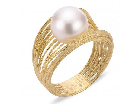 14K Yellow Gold Freshwater Pearl Ring - Crafted in 14K yellow gold this gorgeous ring features one incredibly high quality 10-10.5mm freshwater cultured pearl.Silk by Imperial is a collaboration between Imperial cultured pearl and Italy's master gold smiths. After discovering a group of incredibly talented gold smiths from Italy's famous Arezzo region of Tuscany we immediately knew that a partnership was the next step. Our new Italian design partners have been hard at work designing these wearable works of art that we recently launched to our jewelers during IJO in Baltimore, and to our delight Silk has quickly become a new Imperial best seller!