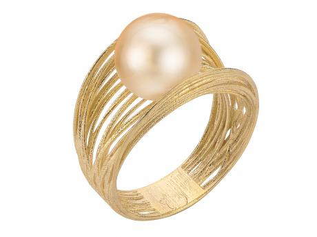 14K Yellow Gold Golden South Sea Pearl Ring - 14K 10-11MM FILIGREE GOLDEN SOUTH SEA PEARL RING- SILK LINE