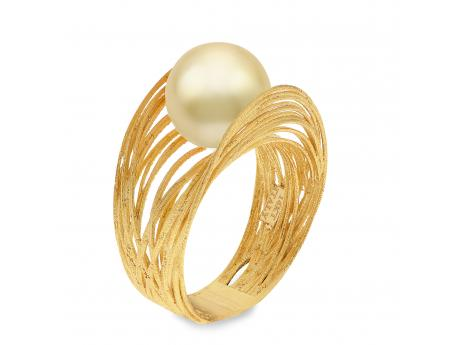 14K Yellow Gold Golden South Sea Pearl Ring - 14K 10-11MM FILIGREE GOLDEN SOUTH SEA PEARL RING- SILK LINE AVAILABLE IN SIZES 6, 7, 8