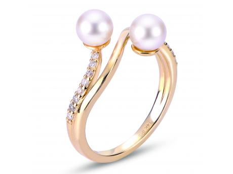 14K Yellow Gold Akoya Pearl Ring - 14KT DOUBLE 5.5MM AKOYA cultured pearl DIAMOND RING
