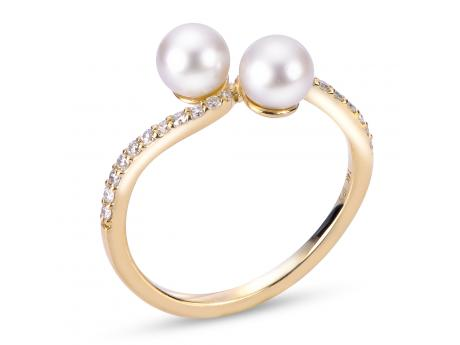Imperial Gold Ring - 14KT YELLOW GOLD DIAMOND DOUBLE PEARL RING