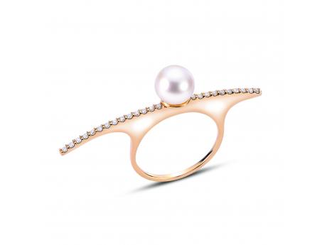 Imperial Gold Ring - 14KT FW PEARL DIAMOND BAR RING