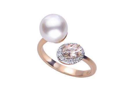 14K Rose Gold Akoya Pearl Ring - *Featured on the pages on INSTORE magazine*From the moment that we paired the soft blush color of morganite with the rosé overtone of Japanese Akoya pearls we knew that it was a match made in heaven. This precious ring features an 8-8.5mm Akoya pearl, one 6x4mm oval shaped morganite stone, and a halo of 14 diamonds set in 14k rose gold. Please specify your preferred ring size in the special comments area of your order.
