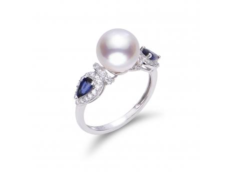 14K White Gold Akoya Pearl Ring - 14KW 9-9.5MM