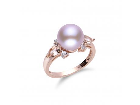-10mm natural color pink freshwater pearl set in 14k rose gold featuring diamonds and morganite stones.