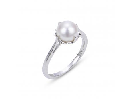 14K White Gold Freshwater Pearl Ring - 14KW 7.5-8MM AA FWCP FILIGREE RING